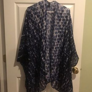 One size blue kimono style cover up